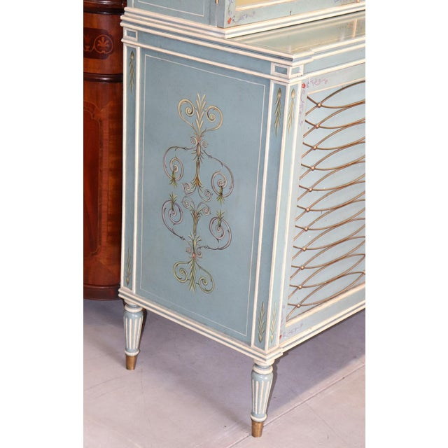 English Regency Style Paint Decorated China Cabinet For Sale - Image 4 of 13