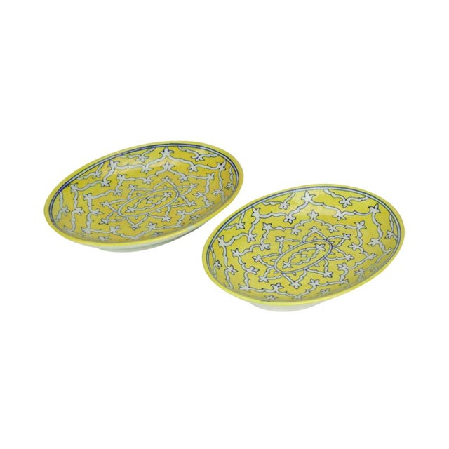 Goldenrod Jaipur Platters - A Pair For Sale - Image 4 of 6