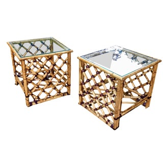 MCM McGuire Furniture Leather Wrapped Bamboo Side Tables - a Pair For Sale