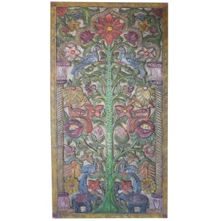 India Carved Wisdom-Tree Meditation Yoga Wall Art Panel Door For Sale