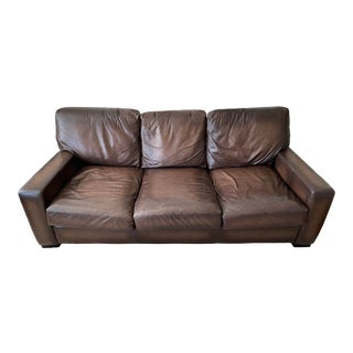 Pottery Barn Square Arm Leather Sofa For Sale