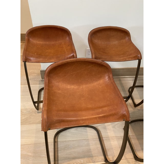2010s Custom Made Emmerson Troop Leather and Brass Bar Stools - Set of 5 For Sale - Image 5 of 10