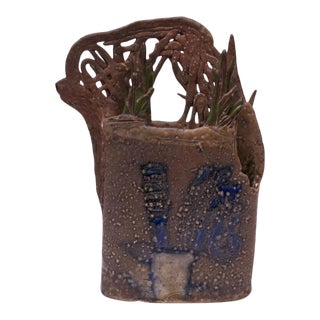 1970s Studio Stoneware Botanical Vase Signed Pollack For Sale