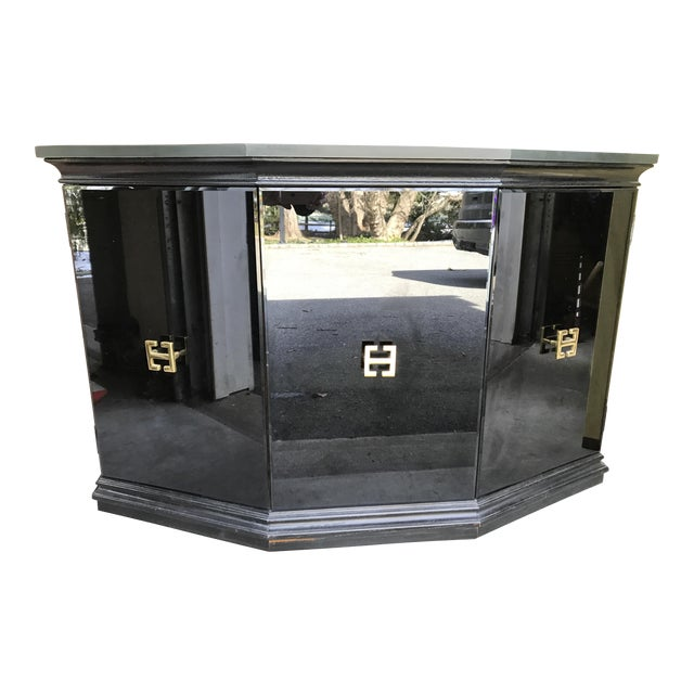 Vintage Modern Style Black Mirrored Glass Demilune Cabinet - Image 1 of 11