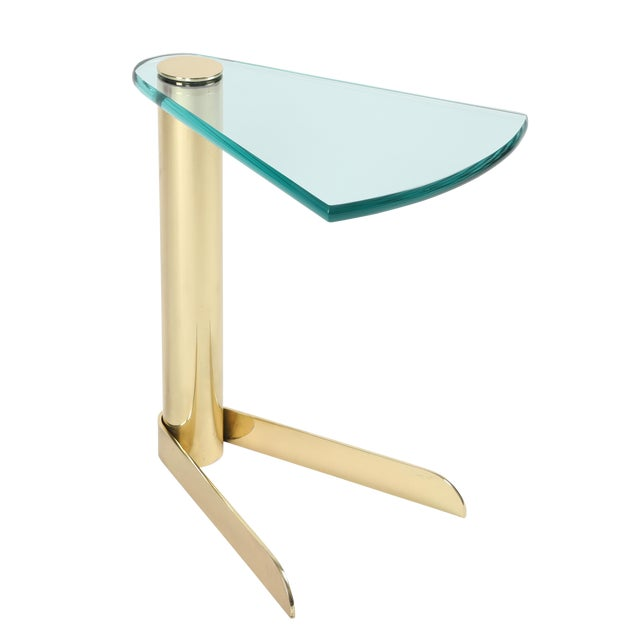 1970S WEDGE-SHAPED OCCASIONAL TABLE IN BRASS AND GLASS BY PACE FURNITURE - Image 1 of 7