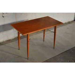 Swedish Mid Century Modern Teak Table With Brass Shelf Preview