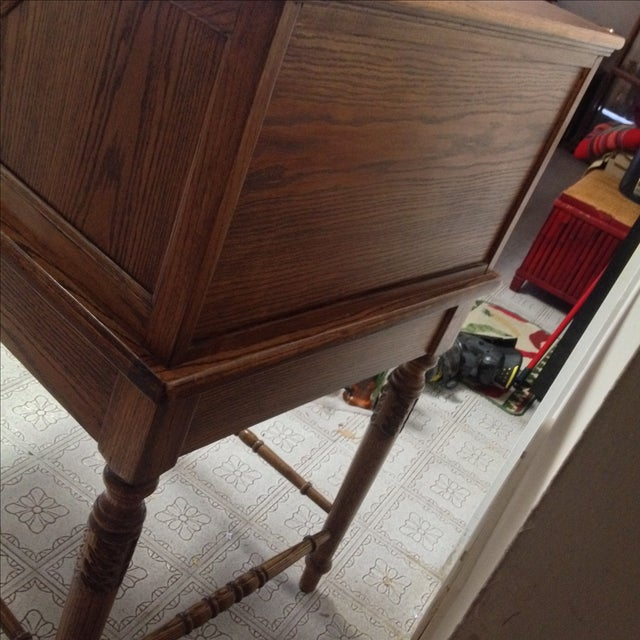 Eagle Craft Oak Roll Top Secretary Desk For Sale - Image 10 of 11