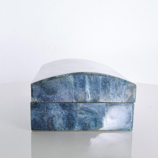 Modern Vintage Modern Stingray Leather Blue Lacquered Jewelry Keepsake Box For Sale - Image 3 of 10