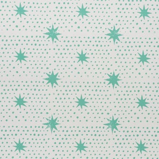 Sample - Schumacher x Molly Mahon Spot & Star Wallpaper in Seaglass For Sale