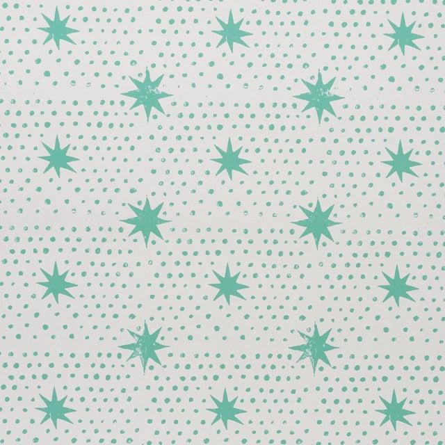 Sample - Schumacher x Molly Mahon Spot & Star Wallpaper in Seaglass For Sale