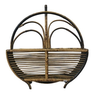 Vintage Rattan Wall Hanging Rack For Sale