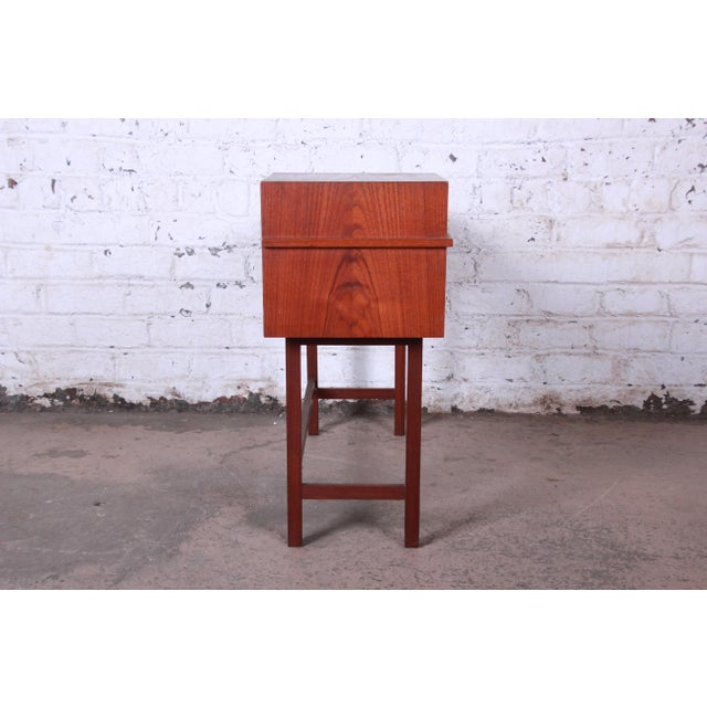 Wood Swedish Modern Petite Teak Vanity Desk or Console Hall Table by Glas & Trä For Sale - Image 7 of 11