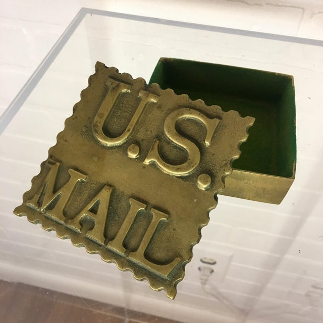 Mid 20th Century Vintage Brass Postage Stamp Box For Sale - Image 5 of 5