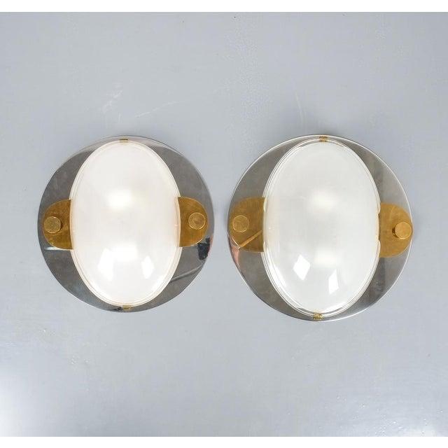 Luigi Caccia Dominioni Flush Mounts or Sconces Brass Chrome Glass, Circa 1978 For Sale - Image 9 of 13