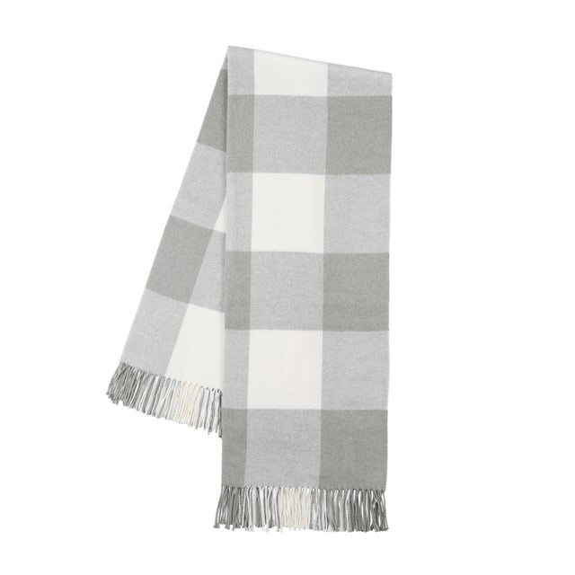 Transitional Light Gray Buffalo Check Throw For Sale - Image 3 of 3