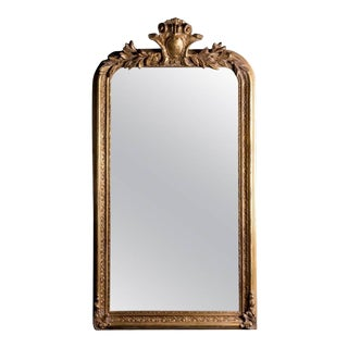 French Philippe Hand-Carved Beveled Mirror in Hand Gilt Frame For Sale
