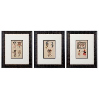 Hopi Kachina Chromolithographs C.1903 - Set of 3 For Sale