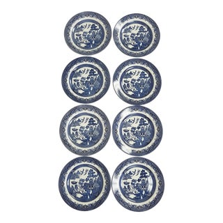 Churchill Blue Willow Dinner Plates - Set of 8 For Sale
