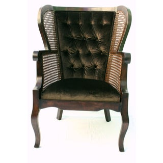 Late 20th Century Vintage Regency Cane High Wingback Chair For Sale
