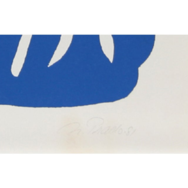 'Blue Flowers' by Nadine Prado (Mexican/French), 1981. Serigraph, signed in pencil. Edition: AP 15 Size: 24 in. x 22 in....