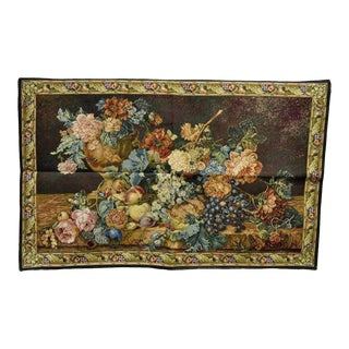 """41""""x 26"""" French Wall Hanging Tapestry Jacquard Aubusson Acanthus Fruit Still Life For Sale"""