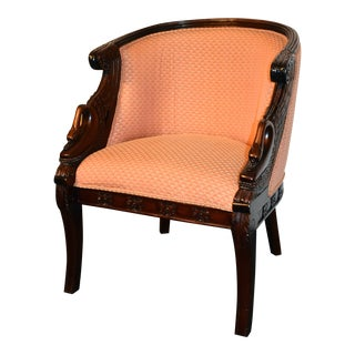 Carved Mahogany French Empire Style Barrel Back Swan Chair For Sale