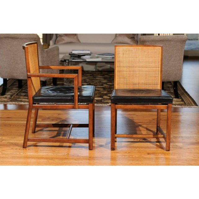 Rare Surviving Set of Six Coveted Cane Dining Chairs by Michael Taylor for Baker For Sale In Atlanta - Image 6 of 11