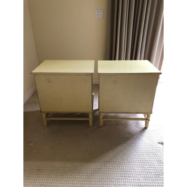 Hollywood Regency Vintage Ficks Reed Faux Bamboo Three Drawer Nightstands - A Pair For Sale - Image 3 of 7