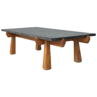 Cerused Oak and Slate French Midcentury Coffee Table For Sale