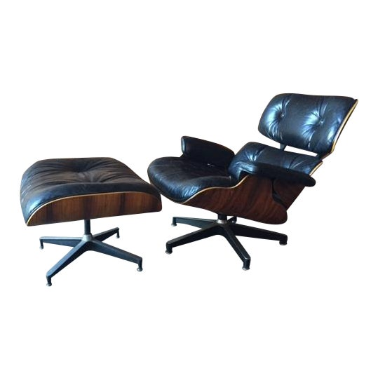 Original Eames Herman Miller 1975 Rosewood Leather Chair with Ottoman For Sale