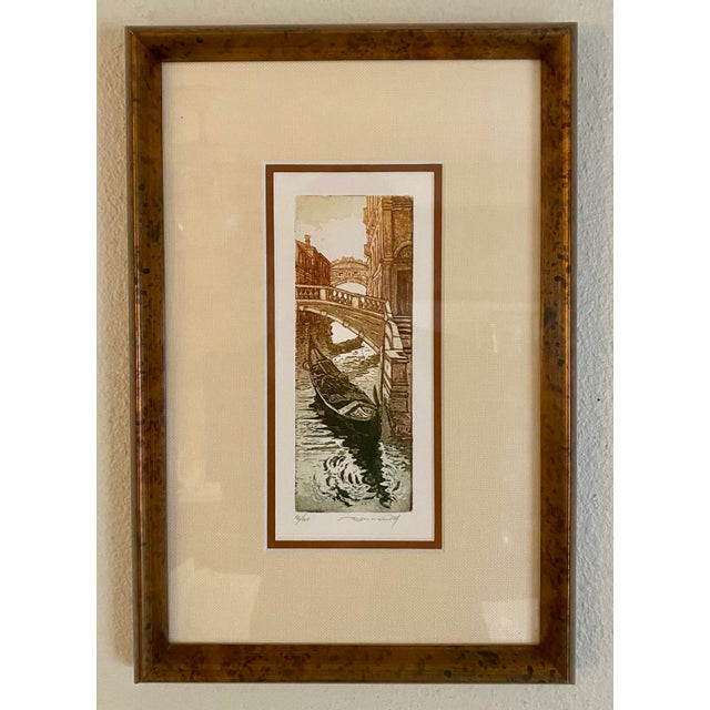 1990s Vintage Italian Canal Houses Gondola Framed Ink & Watercolor Painting For Sale - Image 5 of 5