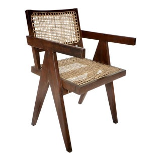 Pierre Jeanneret Teak and Cane Armchair From Chandigarh For Sale