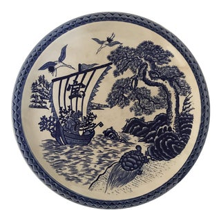 Blue and White Japanese Porcelain Charger For Sale
