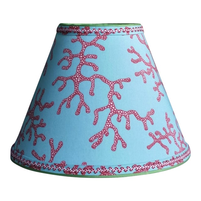 Lilly Pulitzer Fabric Lampshade Blue Red Clip On For Sale