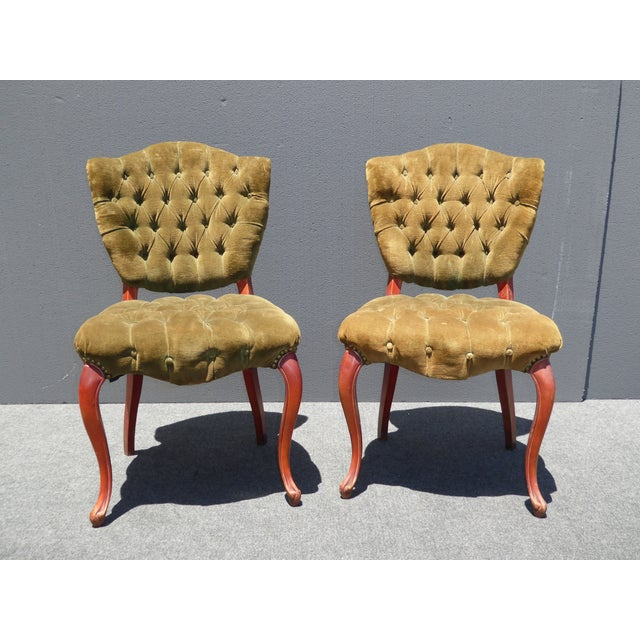 French Provincial Tufted Velvet Chairs - Pair - Image 4 of 11