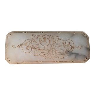 Vintage 1920s Italian Carved Alabaster Oblong Box with Floral Motif For Sale
