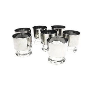 Vintage Mid-Century Thick Silver Rim Low Ball Bar Glasses - Set of 7