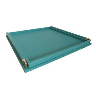 Turquoise Leather-Wrapped Tray by Global Views For Sale