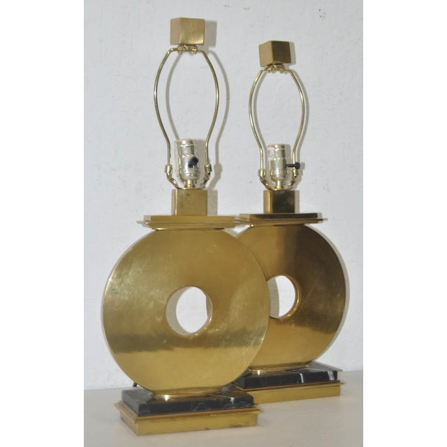 Pair of Robert Abbey Vintage Brass & Marble Table Lamps For Sale - Image 5 of 7