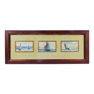 Sailing Boats Watercolor Paintings - Set of 3 For Sale