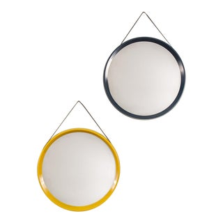 Colorful Danish Modern Circular Mirrors - a pair For Sale