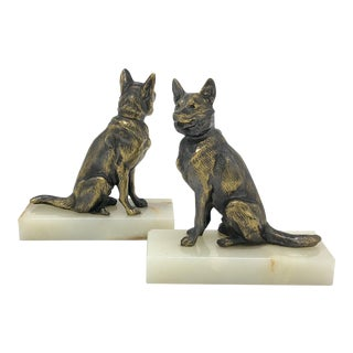 1930's Bronzed German Shepard Dog Bookends on Marble Base