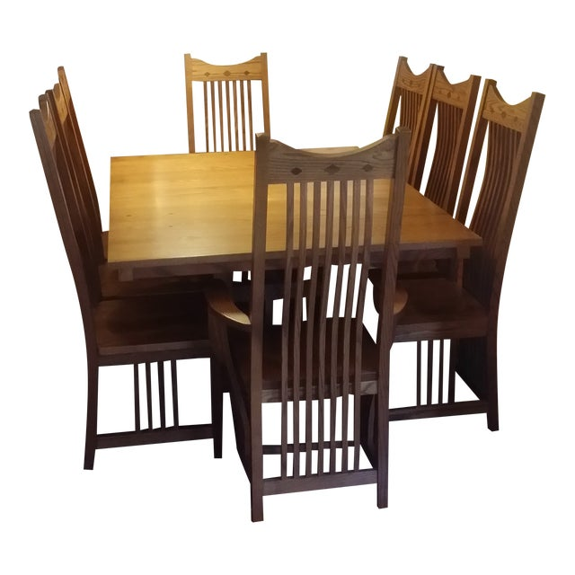 Solid Quatersawn Oak Mission-Style Dining Set - Set of 9 For Sale