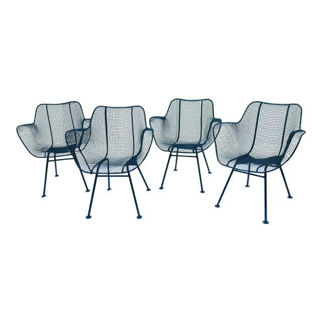 russell woodard sculptura wire chairs set of 4 chairish