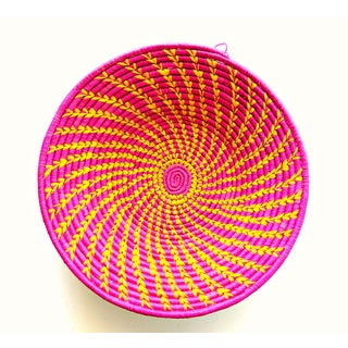 African Hot Pink Yellow Woven Baskets - Set of 2 Preview