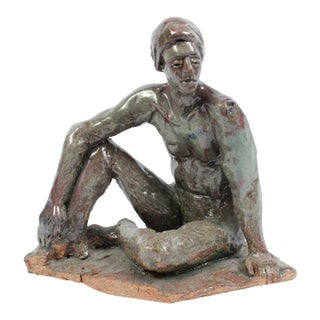 Seated Male Figure Ceramic Sculpture With Turquoise, Gray and Brown by Dave Fox For Sale