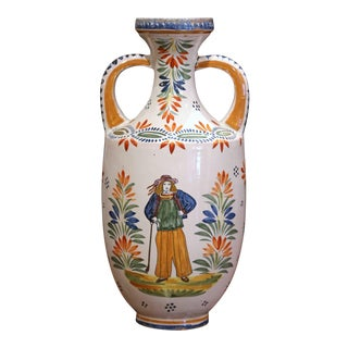Early 20th Century French Hand Painted Faience Vase Signed Henriot Quimper For Sale