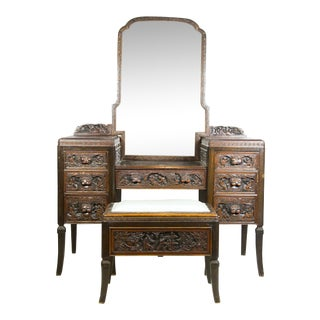 1920 Chinese Apricot Wood Vanity & Bench