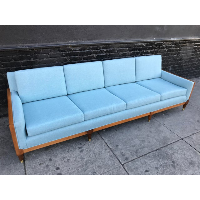 Vintage Mid Century Long Sofa For Sale - Image 11 of 13