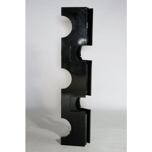 1980s Modernist Black Lacquered Wood Room Divider For Sale - Image 5 of 7